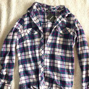 Eddie Bauer Tops - Purple/blue/white flannel